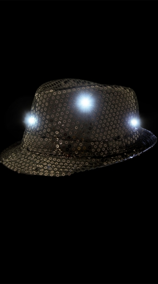 Sparkly Fedora With Flashing LED Lights - Black