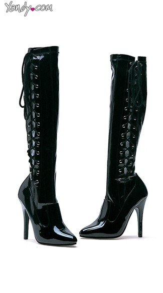 "5"" Heel Black Patent Knee High Boots, Zip Up Boots"