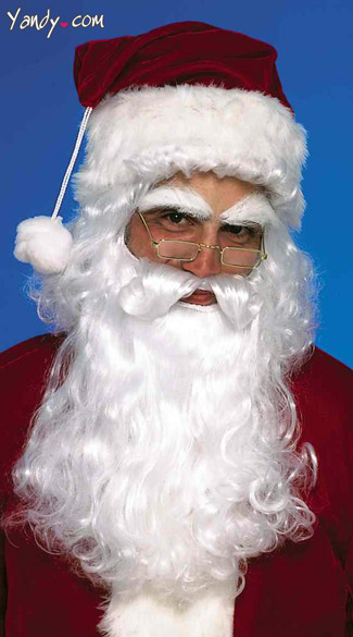 Santa Wig and Beard - White