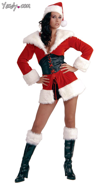Short and Sweet Santa Costume - Red/White