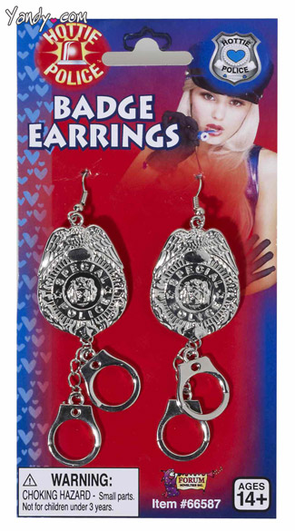 Police Officer Badge Earrings - Silver