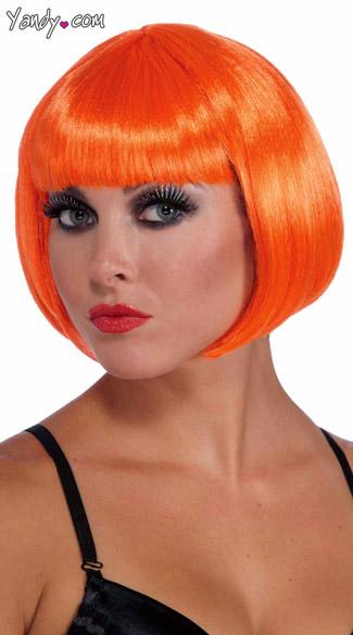 Neon Orange Bobbed Wig - Orange