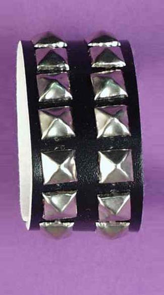 Double Length Studded Wristband - Black