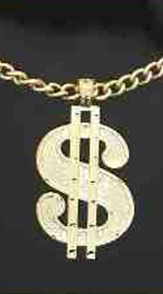 Pimp Bling Dollar Sign Necklace - As Shown