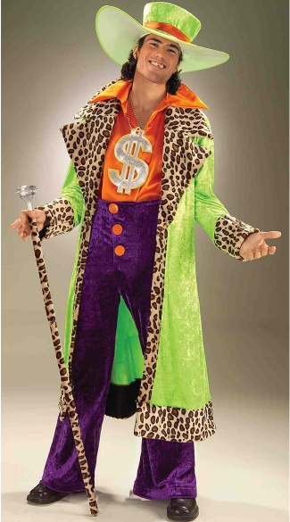 Colorful Big Daddy Pimp Costume, Tacky Pimp Costume, Men\'s Pimp Halloween Costume
