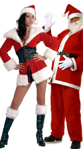 Happy Holidays Couples Costume, Sexy Santa Couples Costume, His and Hers Santa Costumes, Santa Claus Couples Costumes