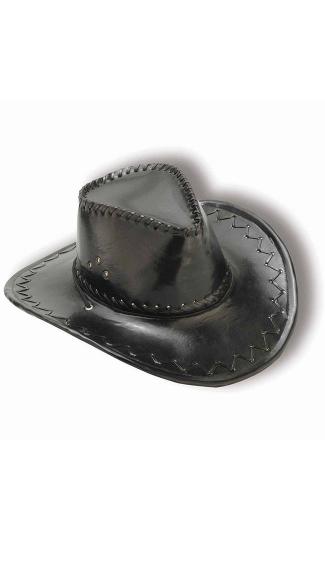 Black Faux Leather Cowboy Hat - Black