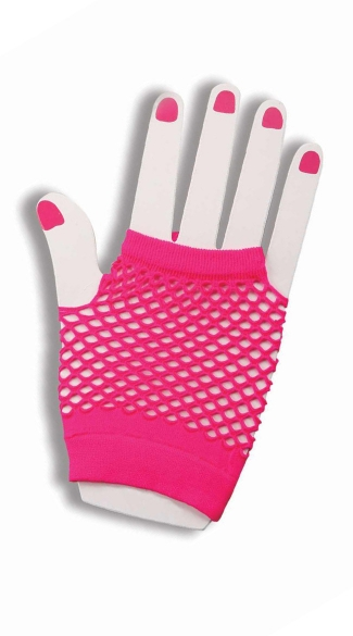Hot Pink Fishnet Fingerless Gloves - Pink