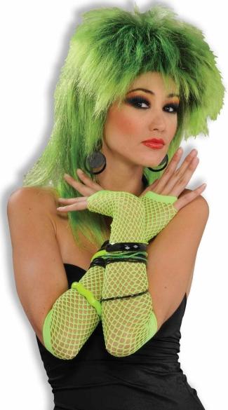 Neon Green Fingerless Fishnet Gloves - Green