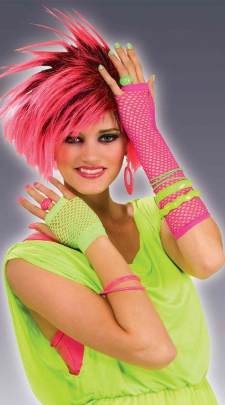 Mismatched Neon Fishnet Fingerless Gloves, Neon Green Fishnet Gloves, Hot Pink Fishnet Gloves, 80s Costume Accessories