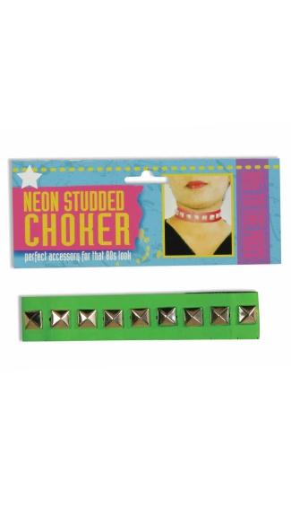 Neon Green Studded Choker - Green