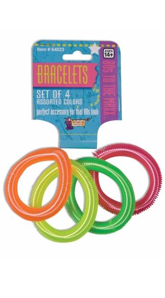 Four Piece Set Of 80's Coil Bracelets - Neon