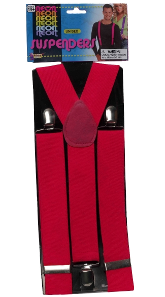 Neon Pink Suspenders - as shown