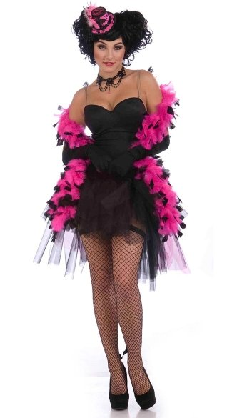 Hot Pink Boa with Black Tips - Black