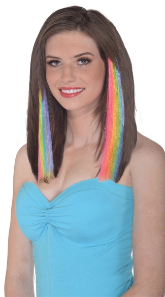 Pastel Rainbow Hair Extensions, Rainbow Hair Clips, Striped Hair Extensions, Patterned Hair Extensions