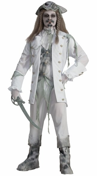 Men\'s Ghost Captain Costume, Walking Dead Pirate Costume, Zombie Pirate Costume