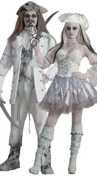 Dead Spirit of the Seas Couples Costume, Dead Spirit Of The Seas Costume, Women\'s Pirate Costume, Pirate Ghost Costume, Men\'s Ghost Captain Costume, Walking Dead Pirate Costume, Zombie Pirate Costume
