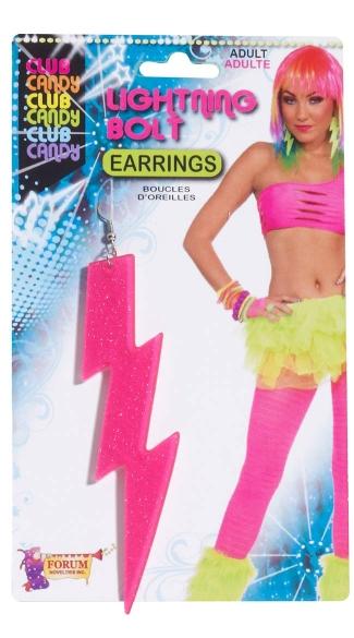 Pink Lightning Bolt Earrings - Pink