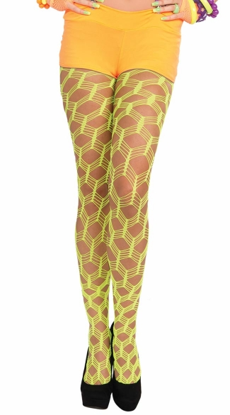 Neon Green Wide Fishnet Pantyhose, Neon Green Pantyhose, Neon Green Stockings, Wide Net Pantyhose