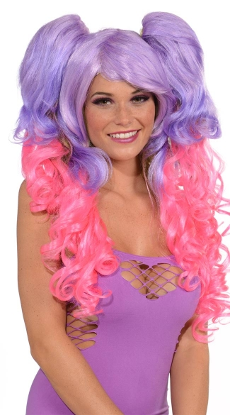 Two Tone Curly Wig with Ponytails, Sexy Wigs, Colored Wigs, Faux Ponytails