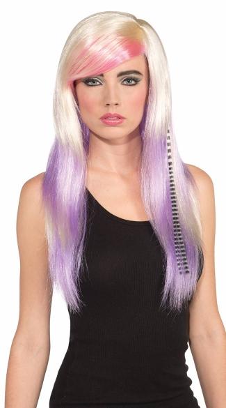 Rock Princess Wig - White/Pink/Purple