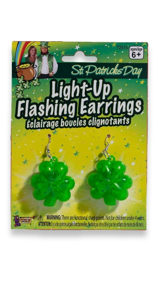 Flashing Shamrock Earrings - Green