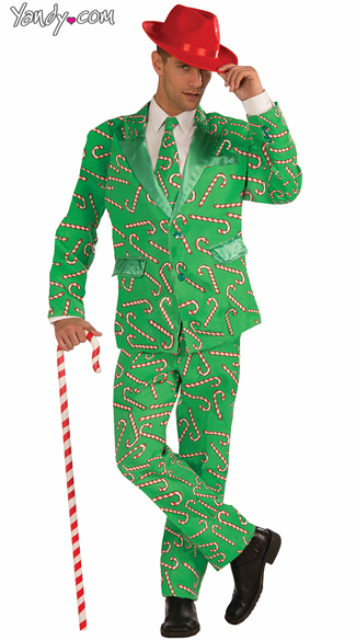 Mr. Candy Cane Suit Costume - As Shown