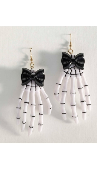 Playful Skeleton Hand Earrings - Black/White