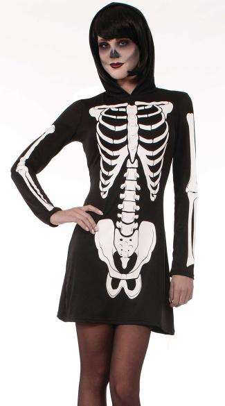 Hooded Skeleton Costume - Black/White