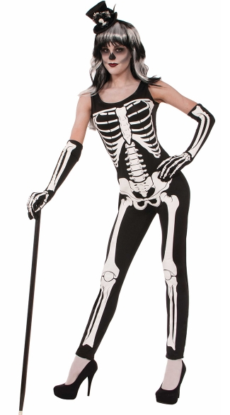 Sexy Skin Tight Skeleton Jumpsuit Costume, Black Jumpsuits For Women, Sexy Skeleton Costume