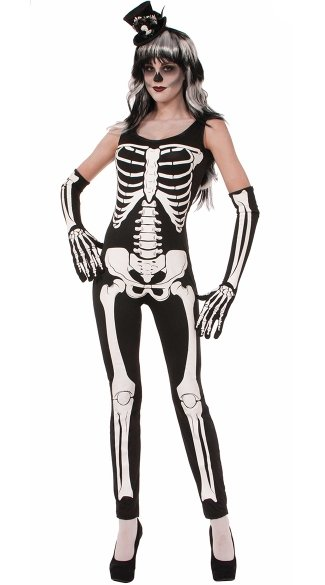 Sexy Skin Tight Skeleton Jumpsuit Costume - Black/White