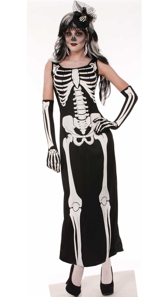 Skeleton Maxi Dress Costume, Female Halloween Costumes, Skeleton Dress Costume