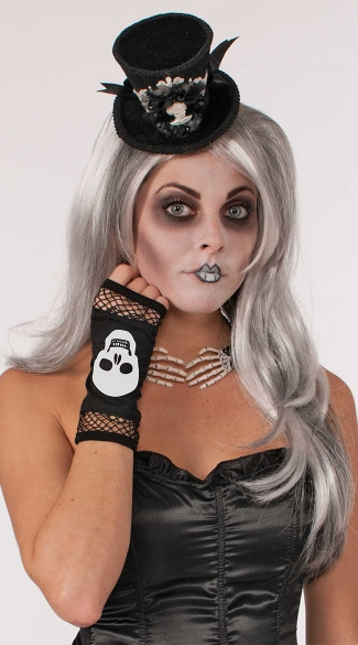 Skull and Fishnet Fingerless Gloves - As Shown