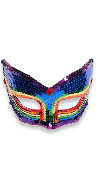 Cat Eye Rainbow Sequin Mask - Rainbow