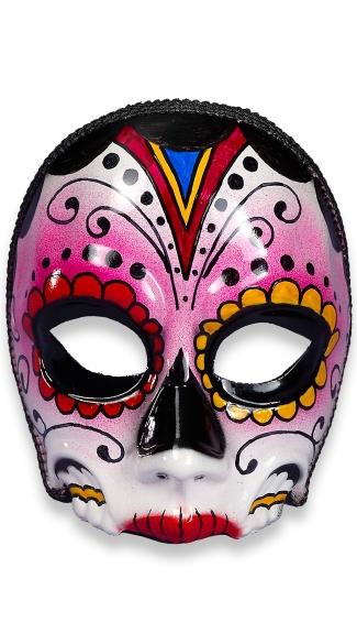 Day of the Dead Senorita Face Mask - Black