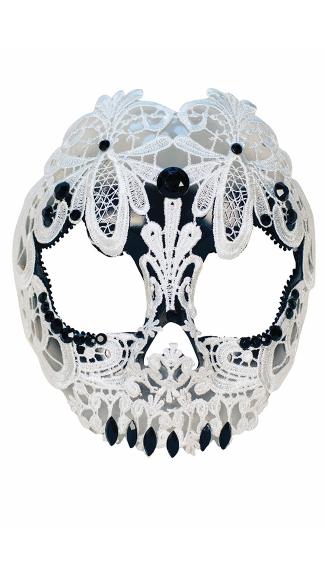White Lace Skull Mask - Black