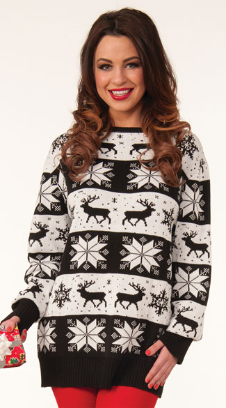 Snow Drift Holiday Sweater, Black and White Sweater, Ugly Christmas Sweater