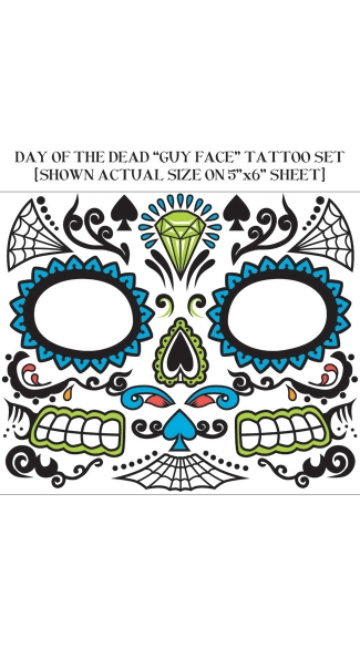 Men's Day Of Dead Face Tattoos - As Shown