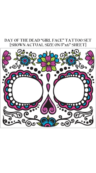 Women\'s Day Of Dead Face Tattoos, Temporary Face Tattoos, Temporary Halloween Tattoos