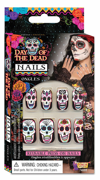 Day Of The Dead Nails, Sugar Skull Nails, Skull Nails