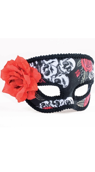 Day of the Dead Half Rose Mask - As Shown