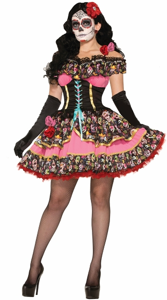 Day of the Dead Senorita Costume - As Shown