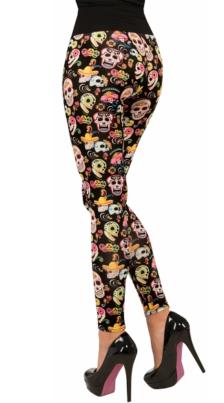 Day Of The Dead Leggings - As Shown