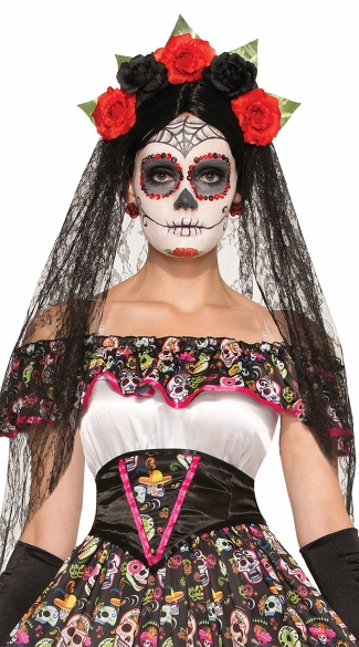 Day of the Dead Black Veil Headdress - Black