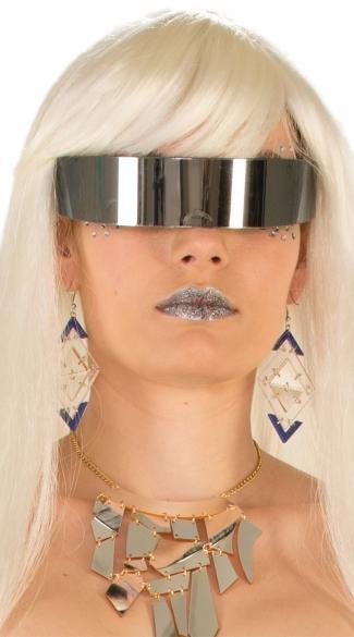 Mirror Wrap Around Eye Glasses - As Shown