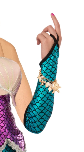 Blue Mermaid Fish Scale Arm Sleeves - Blue