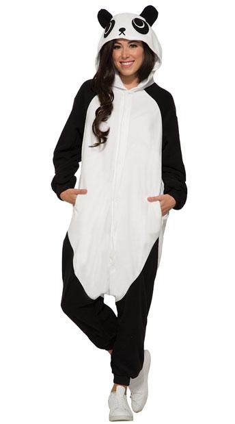 Cozy Panda Onesie - Black/White