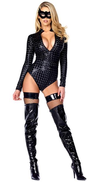 Hologram Zipfront Bodysuit - Black