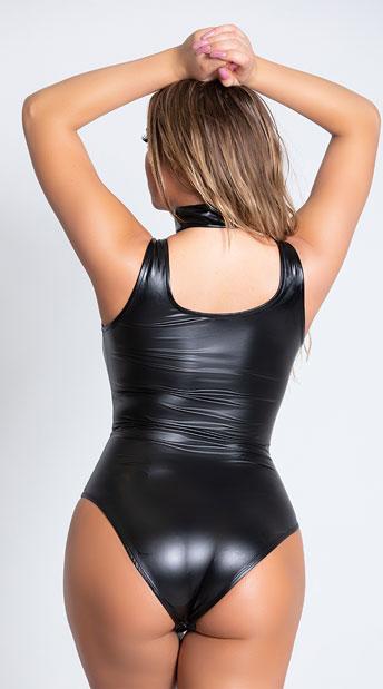Guilty Pleasure Vinyl Bodysuit - Black