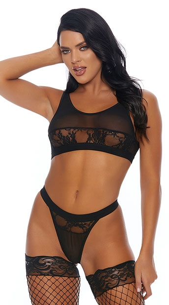 406af1371ab64 Test Me Lace   Mesh Bra Set - Black ...